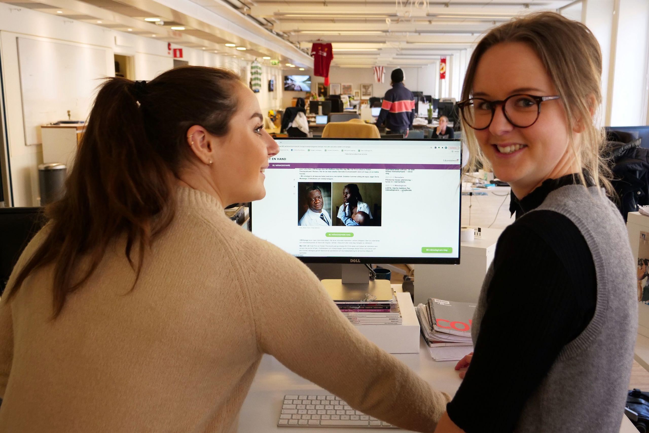 Sara Ohlsén, Client manager and Lydia Staf, editor for Läkarmissionen.